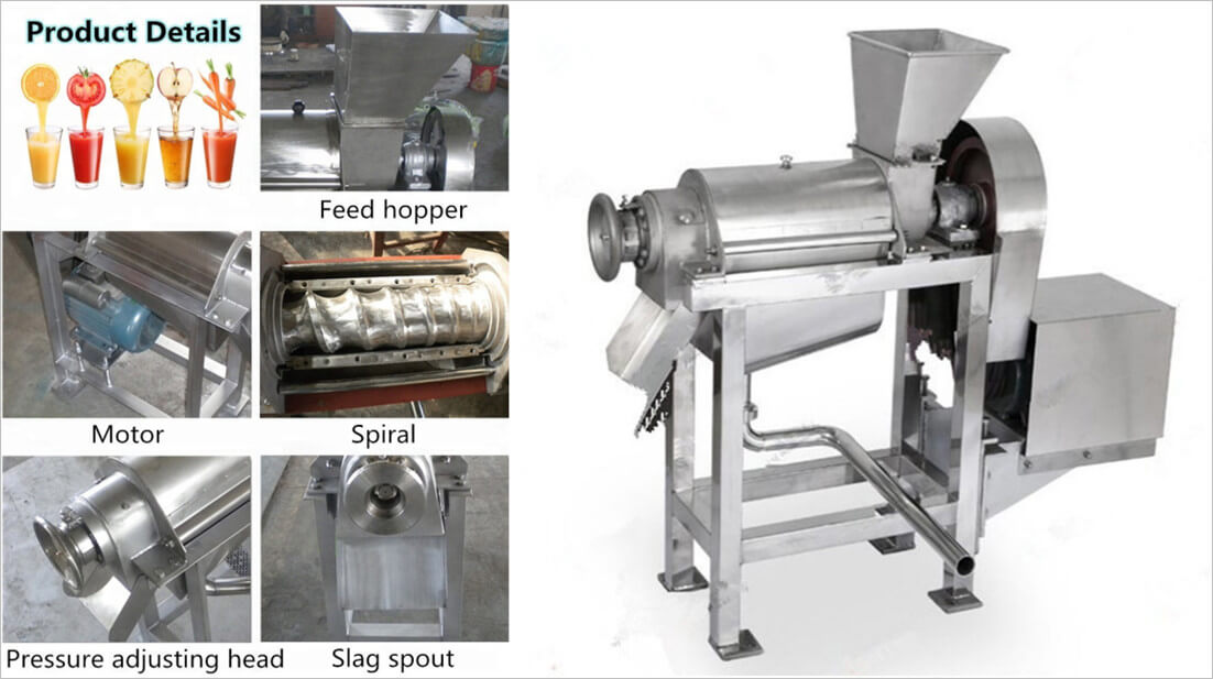 detailes show of Spiral crushed juicer machine