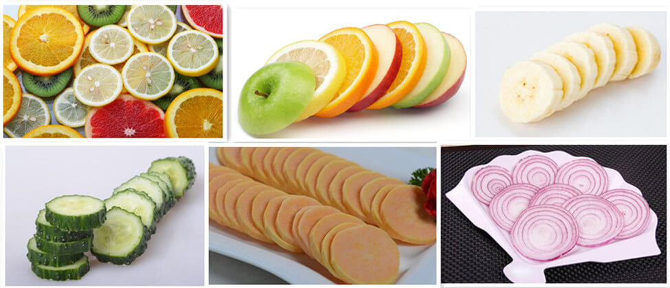 fruit & vegetable slices cut by the banana slicer machine
