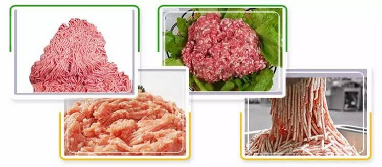 minced meat processed by this meat grinding machine