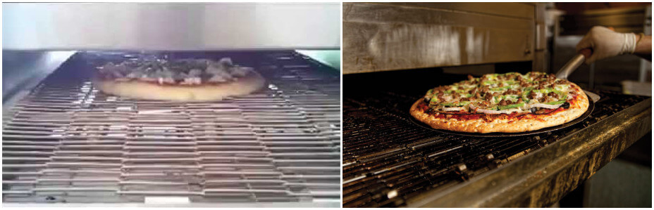 pizza tunnel oven baking pizza process