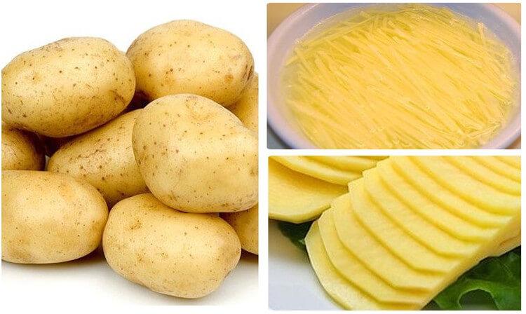 potato chips and french fries cut by potato cutting machine