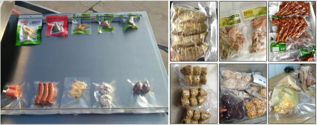 vacuum packed food processed by Automatic chamber vacuum packaging machine for food